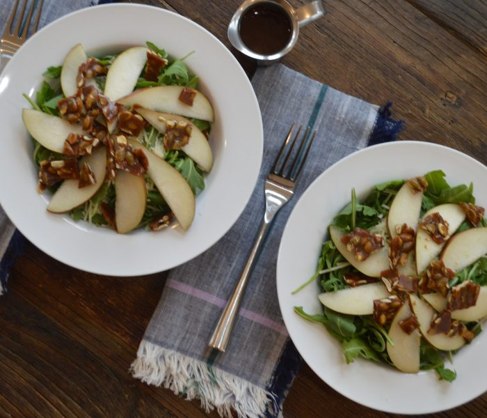 Pear and Arugula Salad with Pepita Brittle
