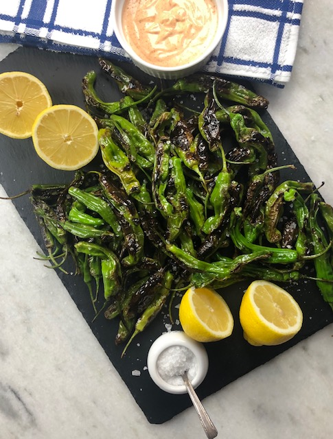 Blistered Shishito Peppers with Spicy Aioli